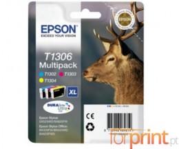 3 Tinteiros Originais, Epson T1302-T1304 Cor 10.1ml