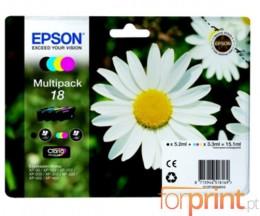 4 Tinteiros Originais, Epson T1801-T1804 Preto 5.2ml + Cor 3.3ml