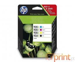 4 Tinteiros Originais, HP 934 XL Preto + HP 935 XL Cor ~ 1.000 / 825 Paginas
