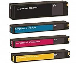 4 Tinteiros Compativeis, HP 973X Preto 182ml + Cores 85ml ~ 10.000 / 7.000 Paginas