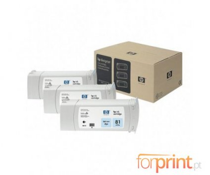 3 Tinteiros Originais, HP 81 Cyan Foto 680ml