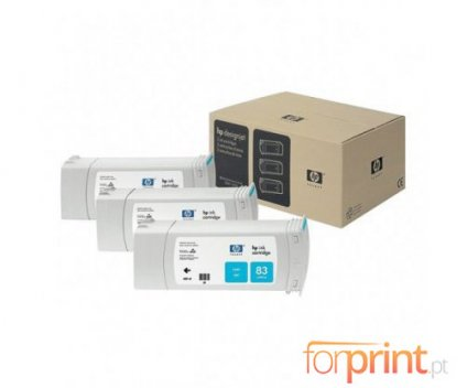 3 Tinteiros Originais, HP 83 Cyan 680ml UV