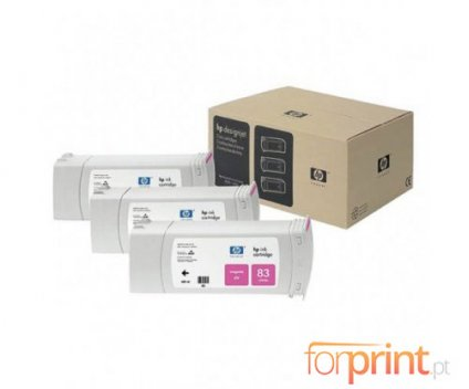 3 Tinteiros Originais, HP 83 Magenta 680ml UV