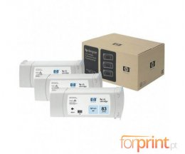 3 Tinteiros Originais, HP 83 Cyan Foto 680ml UV