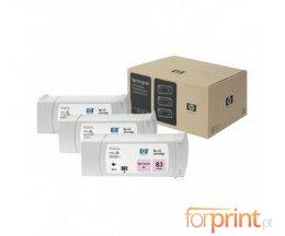 3 Tinteiros Originais, HP 83 Magenta Foto 680ml UV