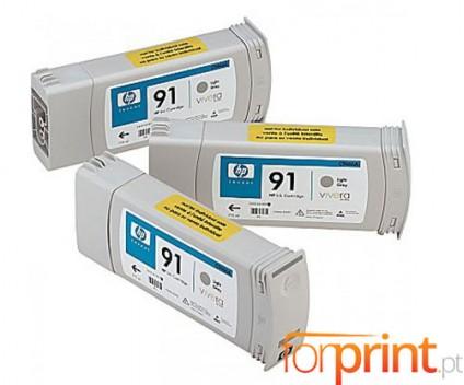 3 Tinteiros Originais, HP 91 Cinza Claro 775ml