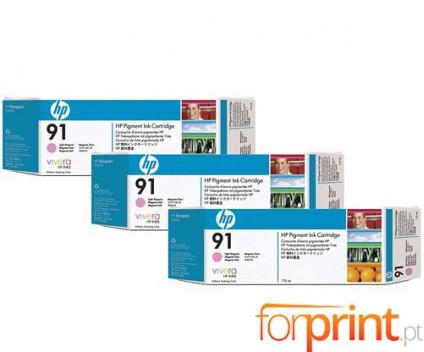 3 Tinteiros Originais, HP 91 Magenta Claro 775ml