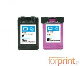 2 Tinteiros Compativeis, HP 650 XL Preto 20ml + Cor 17ml