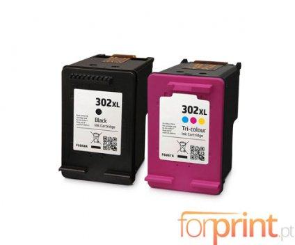 2 Tinteiros Compativeis, HP 302 XL Preto 20ml + Cor 18ml