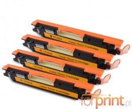 4 Toners Compativeis, Hp 130A Preto + Cor ~ 1.300 / 1.000 Paginas