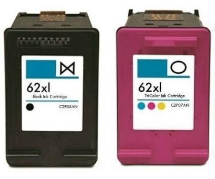 2 Tinteiros Compativeis, HP 62 XL Preto 20ml + Cor 18ml