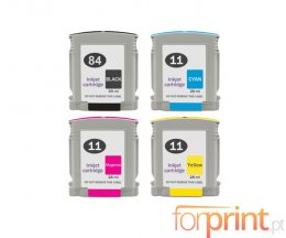 4 Tinteiros Compativeis, HP 84 Preto 69ml + HP 11 Cor 28ml