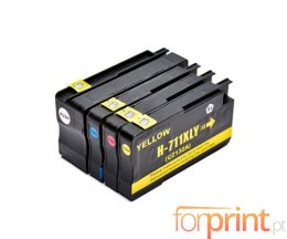 4 Tinteiros Compativeis, HP 711 XL Preto 73ml + Cor 26ml