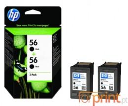 2 Tinteiros Originais, HP 56 Preto 19ml ~ 520 Paginas