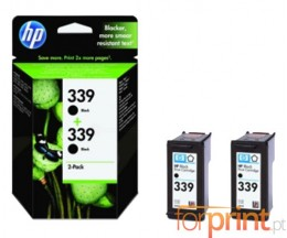 2 Tinteiros Originais, HP 339 Preto 21ml