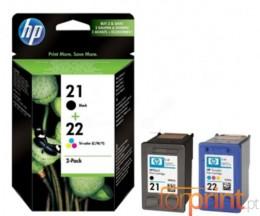 2 Tinteiros Originais, HP 21 Preto 5ml + 22 Cor 5ml ~ 360 Paginas