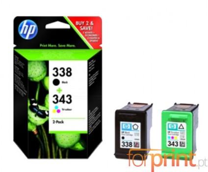 2 Tinteiros Originais, HP 338 Preto 11ml + HP 343 Cor 7ml