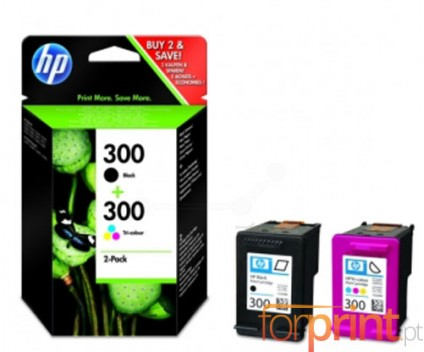 2 Tinteiros Originais, HP 300 Preto 4ml + Cor 4ml
