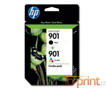 2 Tinteiros Originais, HP 901 XL Preto 14ml + Cor 9ml