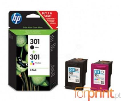 2 Tinteiros Originais, HP 301 Preto 3ml + Cor 3ml