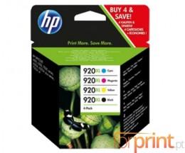 4 Tinteiros Originais, HP 920 XL Preto 32ml + Cores 6ml