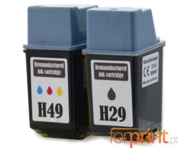 2 Tinteiros Compativeis, HP 29 Preto 39ml + HP 49 Cor 21ml