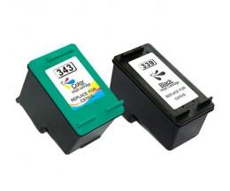 2 Tinteiros Compativeis, Hp 343 Cor 18ml + HP 339 Preto 25ml