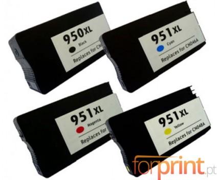 4 Tinteiros Compativeis, HP 951 XL / HP 950 XL Preto 75ml + Cor 26ml