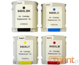 4 Tinteiros Compativeis, HP 940 XL Preto 50ml + Cor 30ml