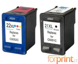 2 Tinteiros Compativeis, HP 21 XL Preto 22ml + HP 22 XL Cor 16ml