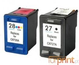 2 Tinteiros Compativeis, HP 28 Cor 18ml + HP 27 Preto 22ml