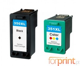 2 Tinteiros Compativeis, HP 351 XL Cor 18ml + HP 350 XL Preto 25ml