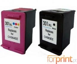 2 Tinteiros Compativeis, HP 301 XL Preto 20ml + Cor 17ml