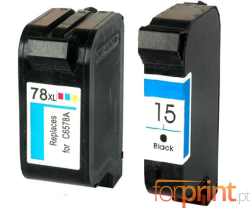 2 Tinteiros Compatíveis, HP 78 Cor 39ml + HP 15 Preto 40ml