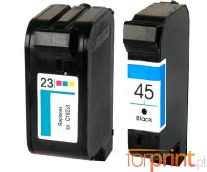 2 Tinteiros Compativeis, HP 23 Cor 39ml + HP 45 Preto 40ml