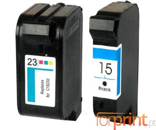 2 Tinteiros Compativeis, HP 23 Cor 39ml + HP 15 Preto 40ml