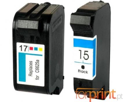 2 Tinteiros Compativeis, HP 17 Cor 39ml + HP 15 Preto 40ml