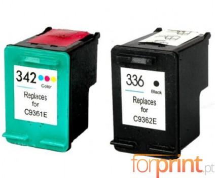2 Tinteiros Compativeis, HP 342 Cor 18ml + HP 336 Preto 18ml