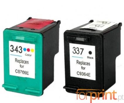 2 Tinteiros Compativeis, HP 337 Preto 18ml + HP 343 Cor 18ml