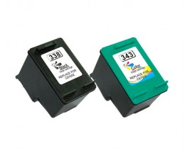2 Tinteiros Compativeis, HP 338 Preto 20ml + HP 343 Cor 18ml