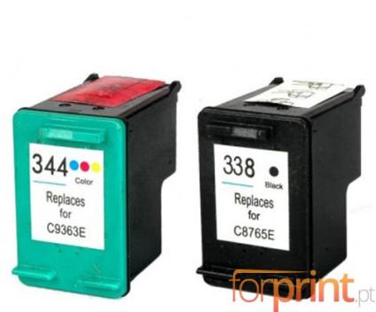2 Tinteiros Compativeis, HP 344 Cor 18ml + HP 338 Preto 20ml