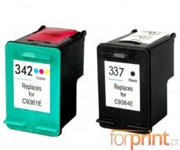 2 Tinteiros Compativeis, HP 342 Cor 18ml + HP 337 Preto 18ml