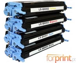 4 Toners Compativeis, HP 124A Preto + Cor ~ 2.500 / 2.000 Paginas