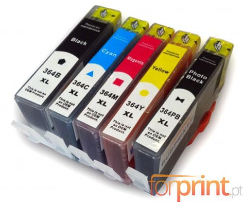 5 Tinteiros Compativeis, HP 364 XL Preto 18.6ml + Cor 14.6ml