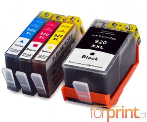 4 Tinteiros Compativeis, HP 920 XL Preto 53ml + Cor 14.6ml