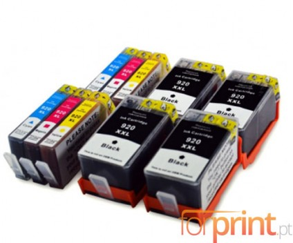 10 Tinteiros Compativeis, HP 920 XL Preto 53ml + Cor 14.6ml