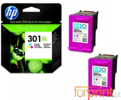 2 Tinteiros Originais, HP 301 XL Cor 8ml