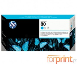 Cabeça de impressão Original HP 80 Cyan e dispositivo de limpeza