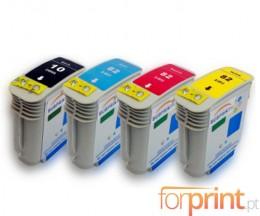 4 Tinteiros Compativeis, HP 10 Preto 69ml + HP 82 Cor 69ml