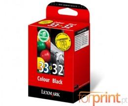 2 Tinteiros Originais, Lexmark 33 Cor 11.5ml + Lexmark 32 Preto 15.6ml